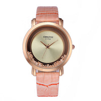 Glitter Quicksand Rhinestone Women Faux Leather Band Quartz Luxury Wrist Watch