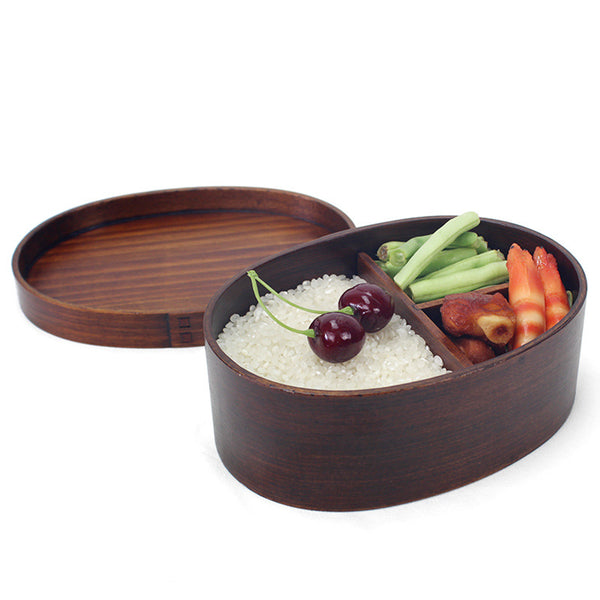 Concise Oval Shape Single-layer Portable Wooden Lunch Box with Bondage for Student