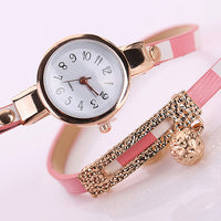 Women Multilayer Ball Pendent Faux Leather Band Wrap Bracelet Dress Wrist Watch