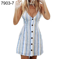 Summer Beach Flower Stripe V-neck Lady Sleeveless Bandage Hollow Back Mini Dress