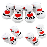 Cute Baby Cotton Socks White I Love Mum/Dad 0-6 Months Newborn Infant Boys Girls