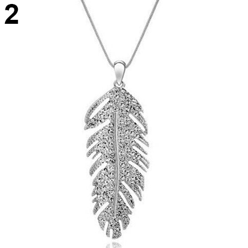 Women's Fashion Bohemian Alloy Rhinestone Feather Pendant Link Chain Necklace
