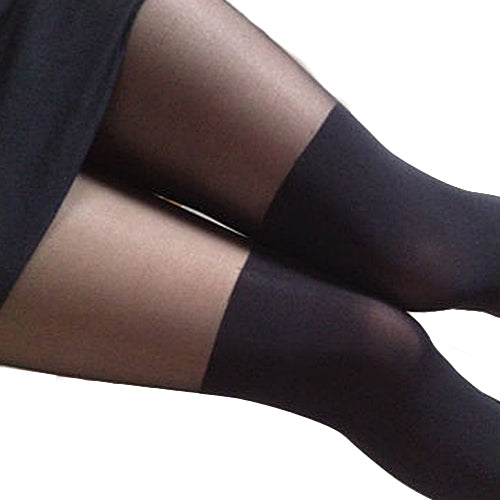 Black Mixed Colors Gipsy Mock Ribbed Over the Knee Tights Thigh High Pantyhose