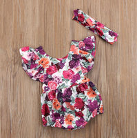 Fashion Colorful Rose Ruffle Shoulder Sleeveless Baby Girl Romper with Hairband