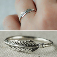 Retro Antique Silver Plated Feather Thin Finger Ring Women Jewelry Charm Decor
