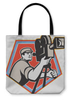 Tote Bag, Cameraman Vintage Film Reel Camera Retro