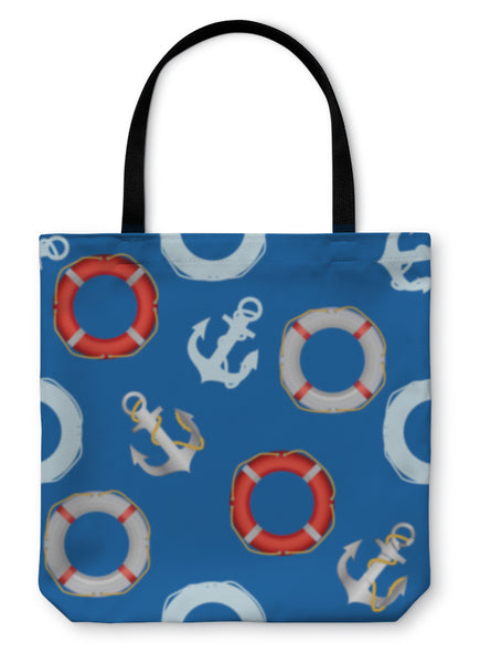 Tote Bag, Anchor Stencil And Lifebuoy Pattern Maritime Theme
