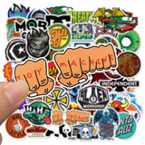 50pcs Skateboard Fashion Brand Logo Waterproof Sticker For Luggage Car Guaitar Skateboard Phone Laptop Bicycle Stickers F5