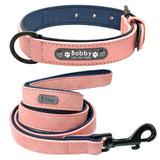 DIDOG Personalized Dog Collar and Leash. Leather Padded, Customized Engraved Dogs Collar with Lead Rope.