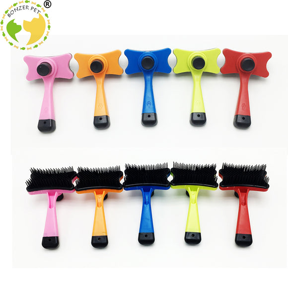 Bonzerpet Plastic Dog Brush. Automatic Shedding Hair Removal Tool.