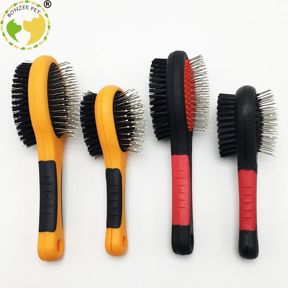 Plastic Tooth Double Sided Dog Brush. Good for All Types of Coats. 2 Sizes Available.