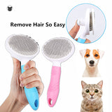 Stainless Steel Fine Tooth Shedding Brush. Blue or Pink Available.