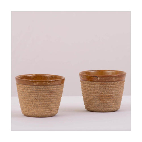 Stoneware Kulhad coffee & tea cups | Rustic Mud | Set of 2 | Pondicherry pottery | 150 ml capacity - Paakhee - Handcrafting Dreams