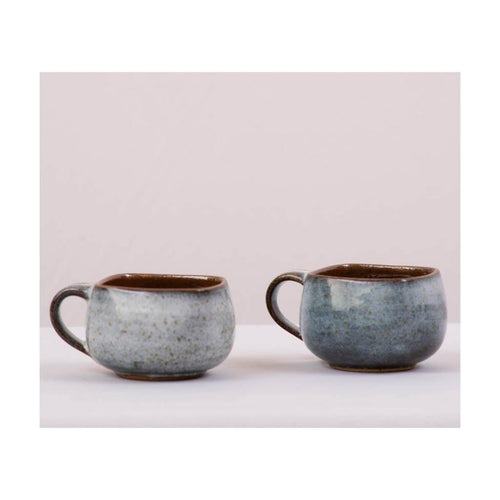 Stoneware Coffee & Tea Cup | Square rim | Pondicherry pottery | 150ml capacity | Set of 2 - Paakhee - Handcrafting Dreams