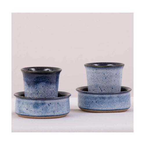Filter Coffee stoneware set | Cup and saucer set | Koniro Blue | Set of 2 | Pondicherry Pottery | 110ml liquid capacity - Paakhee - Handcrafting Dreams