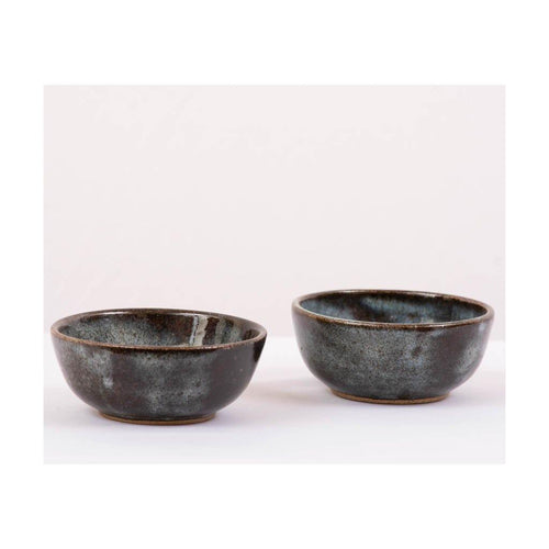 Small Stoneware Serving Bowl | Set of 2 | Pondicherry Pottery | 150ml liquid capacity - Paakhee - Handcrafting Dreams