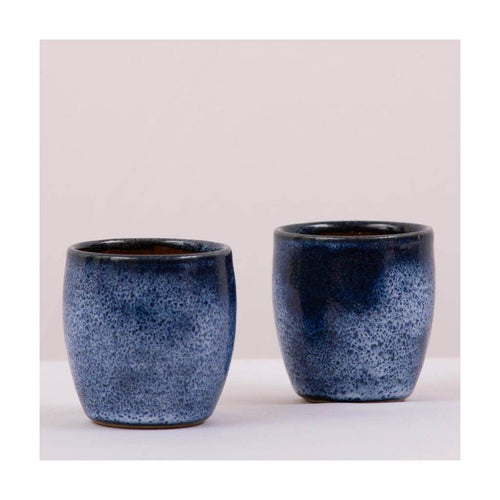 Stoneware Kulhad Coffee & Tea cups | Koniro Blue | Set of 2 | Pondicherry pottery | 150 ml capacity - Paakhee - Handcrafting Dreams