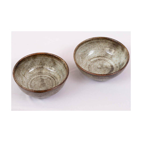 Large Stoneware Serving Bowl | Set of 2 | Pondicherry pottery | 300ml liquid capacity - Paakhee - Handcrafting Dreams