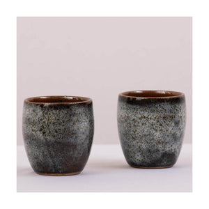 Stoneware Kulhad coffee & tea cups | Aqua Green Glaze | Set of 2 | Pondicherry pottery | 150 ml capacity - Paakhee - Handcrafting Dreams