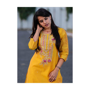 Yellow cotton silk with zari embroidery - Paakhee - Handcrafting Dreams
