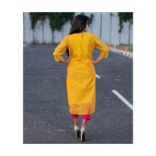 Load image into Gallery viewer, Yellow cotton silk with zari embroidery - Paakhee - Handcrafting Dreams