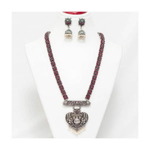 Grandeur kalash German silver pendant Jewellery Set with pearl droplet