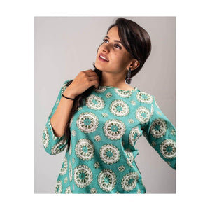 Sea Green Cotton Kurta Pant Set