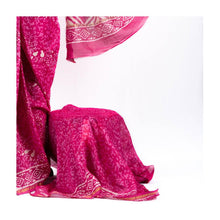Load image into Gallery viewer, Pink mulmul cotton hand block print saree with pink blouse - Paakhee - Handcrafting Dreams