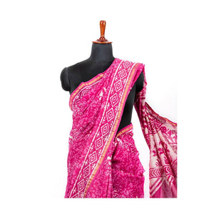 Pink mulmul cotton hand block print saree with pink blouse - Paakhee - Handcrafting Dreams
