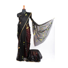 Load image into Gallery viewer, Black organza hand painted silk saree - Paakhee - Handcrafting Dreams