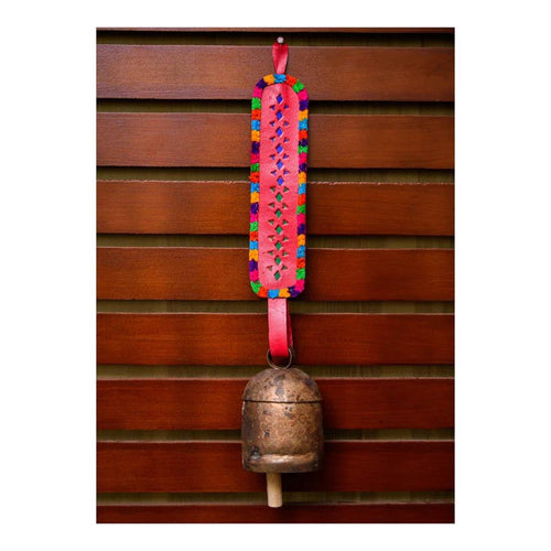 Decorative Bell | Red Long Strap | Copper Coated | Gujarat Handicraft - Paakhee - Handcrafting Dreams
