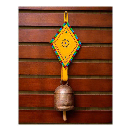 Decorative Bell | Yellow Leather Diamond Shape Strap | Copper Coated | Gujarat Handicraft - Paakhee - Handcrafting Dreams