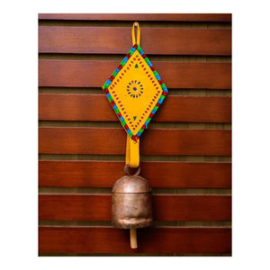 Handmade Balcony Decorative Leather Strap Antique Outdoor Hanging Metal Bell Wind Chime (Yellow) - Paakhee - Handcrafting Dreams