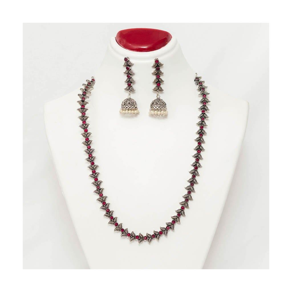 Long leafy handmade oxidized Jewellery Set with jhumki pearl droplet