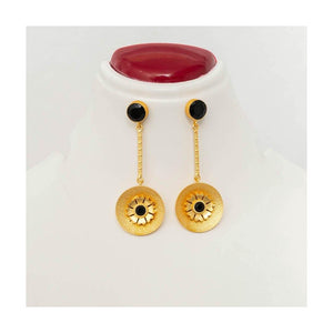 Gold tone black stone dangler drop earrings