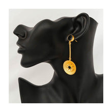 Load image into Gallery viewer, Gold tone black stone dangler drop earrings