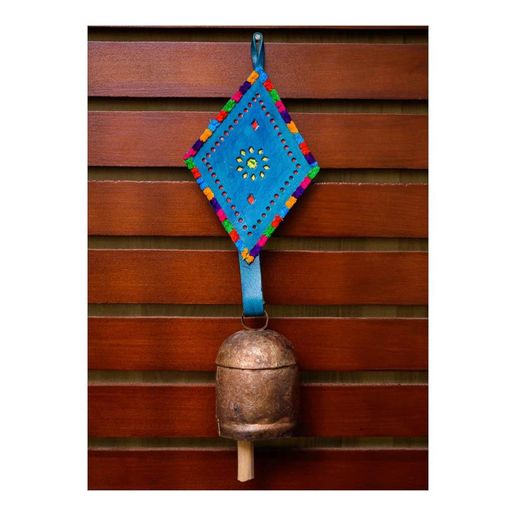 Decorative Bell | Blue Leather Diamond Shape Strap | Copper Coated | Gujarat Handicraft - Paakhee - Handcrafting Dreams