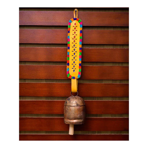 Decorative Bell | Yellow long strap | Copper coated | Gujarat Handicraft - Paakhee - Handcrafting Dreams
