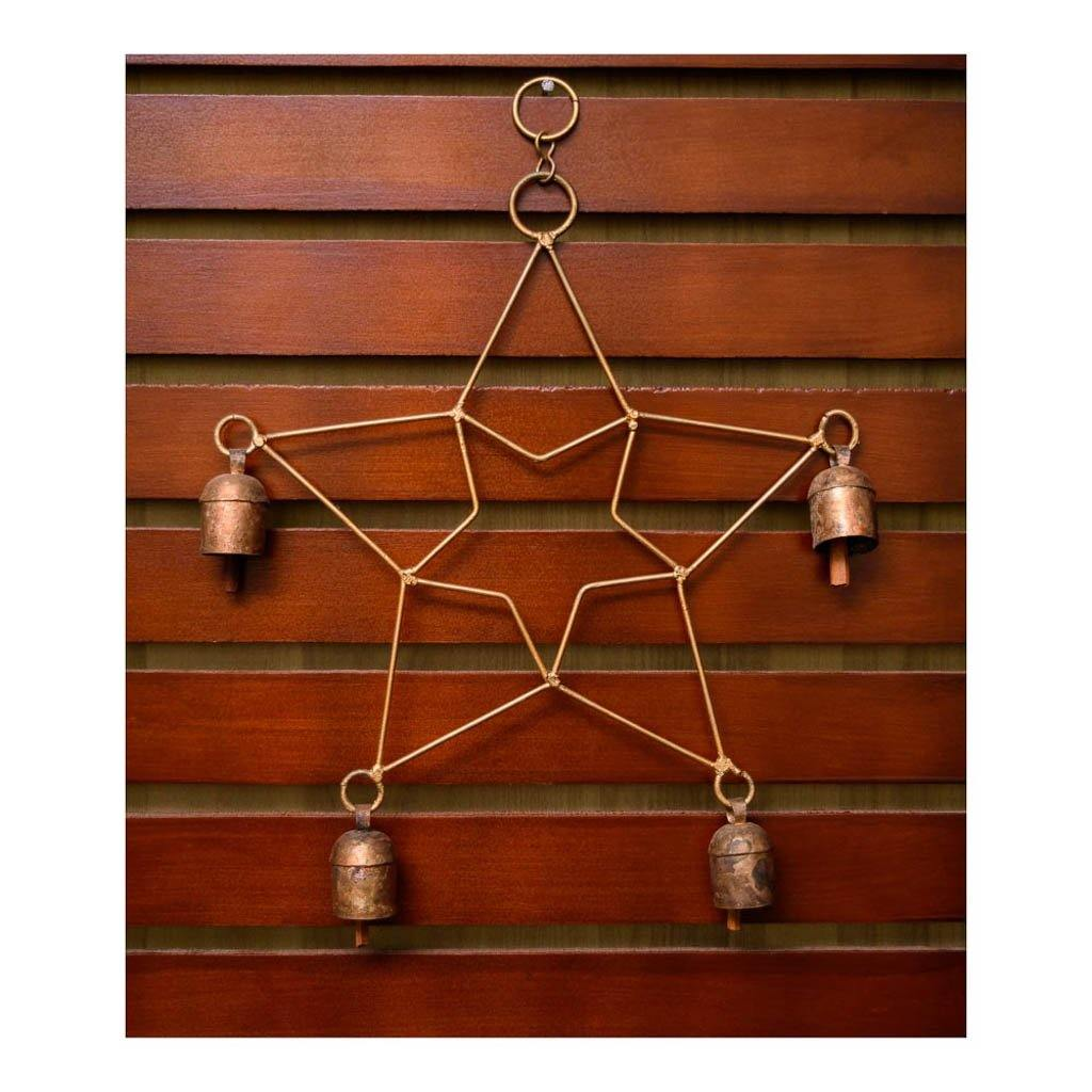 Copper bell wind chime with star finish - Paakhee - Handcrafting Dreams