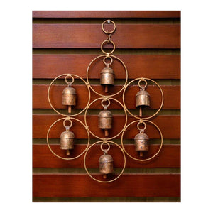Copper bell wind chime in heptagon finish - Paakhee - Handcrafting Dreams
