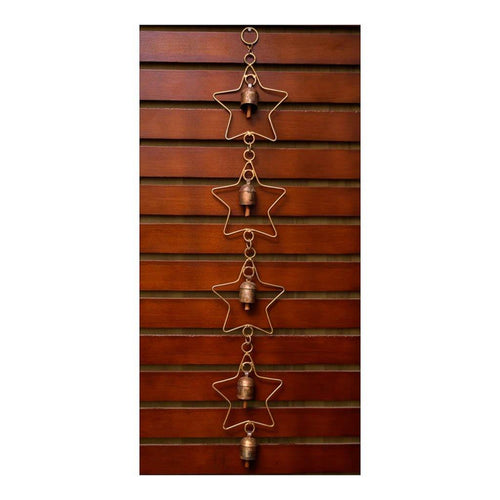 Wind Chime | Dropdown Star Theme | Set of 5 copper coated bells | Gujarat Handicraft - Paakhee - Handcrafting Dreams