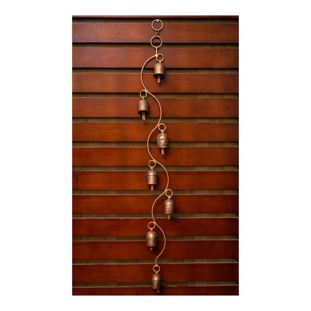 Long copper wind chime in spiral finish