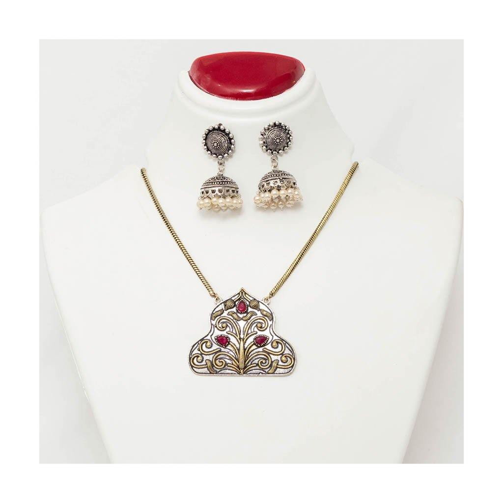 Chain temple pendant oxidized Jewellery Set with pearl jhumkis