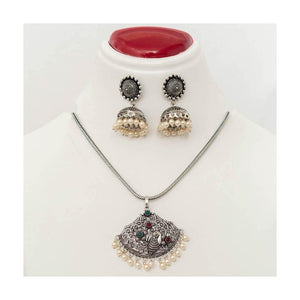 Chain peacock pendant oxidized Jewellery Set with pearl jhumkis