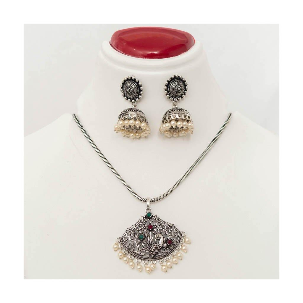 Chain peacock pendant oxidized Jewellery Set with pearl jhumkis - Paakhee - Handcrafting Dreams