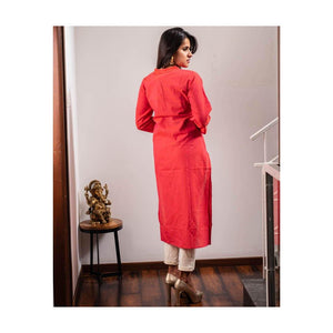 Red Cotton Kurti - Paakhee - Handcrafting Dreams
