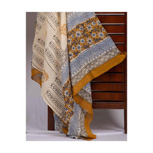 Load image into Gallery viewer, Golden hue bud jaipuri handblock print cotton suit with mulmul cotton dupatta