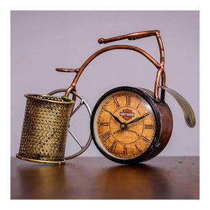 Table top cycle clock with pen stand - Paakhee - Handcrafting Dreams