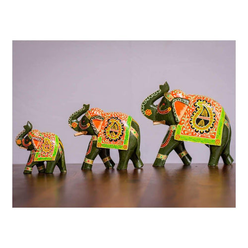 Multi coloured wooden Elephant Herd - Set of 3 pieces - Paakhee - Handcrafting Dreams