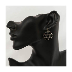 Oxidized silver geometric black stone stud earrings